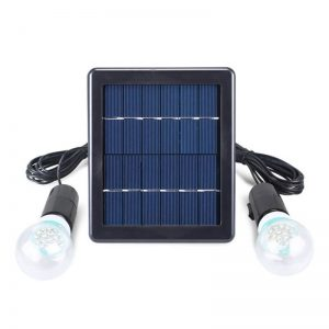 Portable outdoor solar garden light with two lamp bulbs 01
