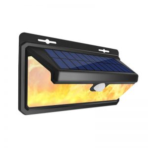 PIR motion sense flame IP65 solar wall light 02