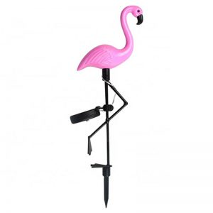Outdoor pink flamingo solar garden lawn light 01