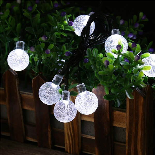 Solar led string lights with bubble crystal ball decorative 11