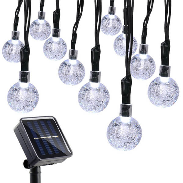 Solar led string lights with bubble crystal ball decorative 13