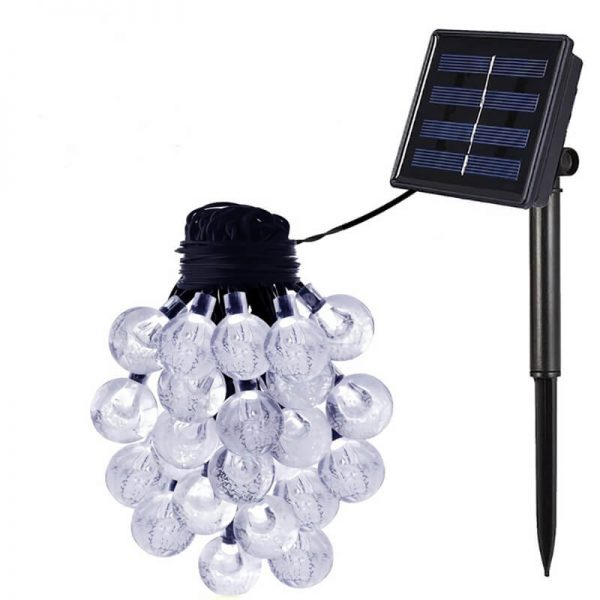 Solar led string lights with bubble crystal ball decorative 02