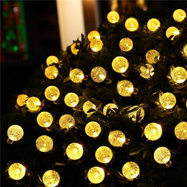 Solar led string lights with bubble crystal ball decorative 07