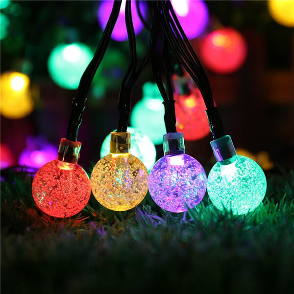 Solar led string lights with bubble crystal ball decorative 09