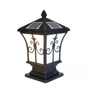 European die-cast aluminum solar pillar villa garden light 02
