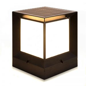 Outdoor square stigma solar retro column garden light 01