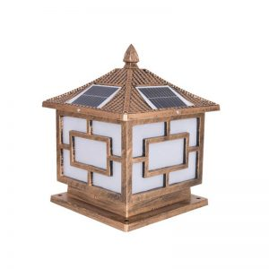 Retro square pillar solar garden column lights 01