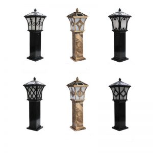 Pillar post retro aluminum solar garden lawn light 01