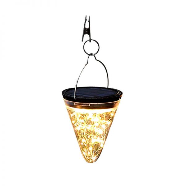 Solar led cone shape hanging camping lights 01