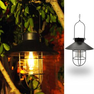 Solar wrought iron tungsten light bulb disc hanging lantern 1