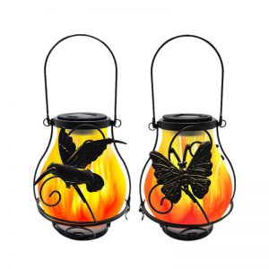 Solar metal flickering flame hanging lantern butterfly dragonfly lights 1