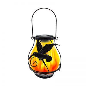 Solar metal flickering flame hanging lantern butterfly dragonfly lights 2