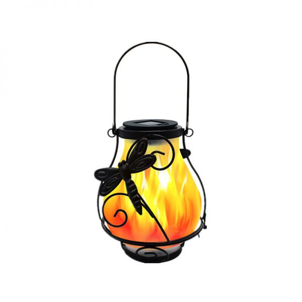 Solar metal flickering flame hanging lantern butterfly dragonfly lights 3