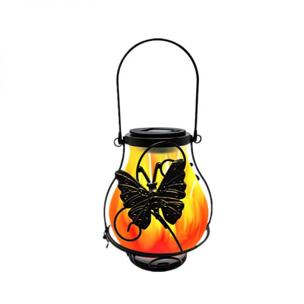 Solar metal flickering flame hanging lantern butterfly dragonfly lights 4