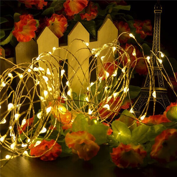 200 led solar copper wire fairy string lights 12