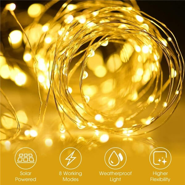 200 led solar copper wire fairy string lights 9