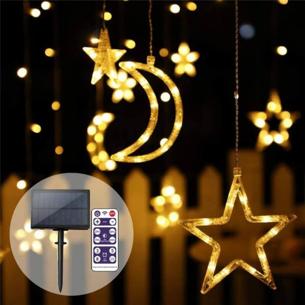 Solar LED moon stars curtain string lights 1