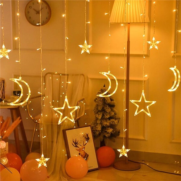 Solar LED moon stars curtain string lights 10