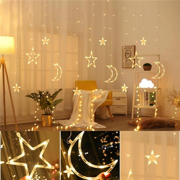 Solar LED moon stars curtain string lights 11