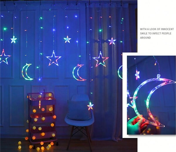 Solar LED moon stars curtain string lights 14