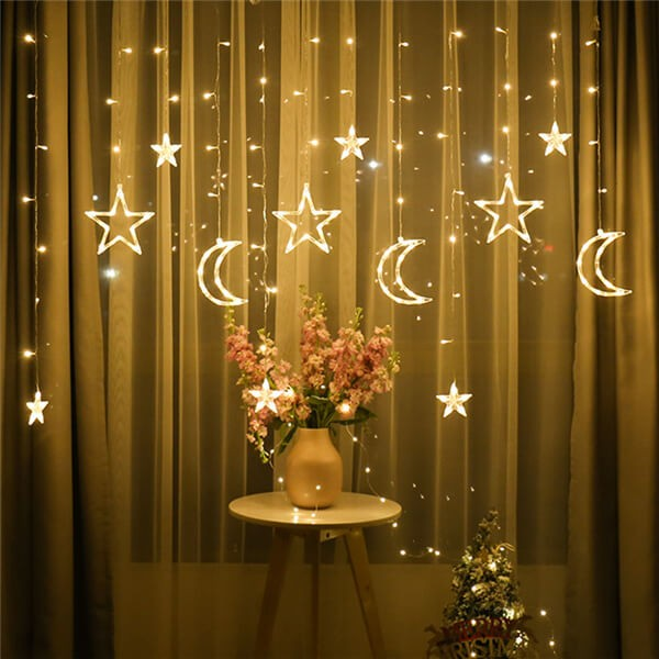 Solar LED moon stars curtain string lights 15