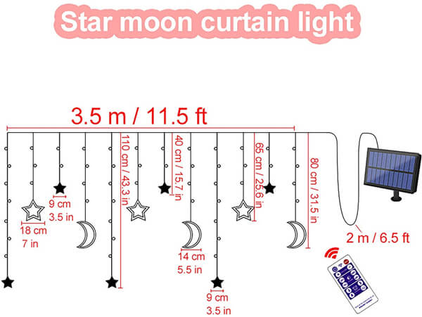 Star moon curtain light