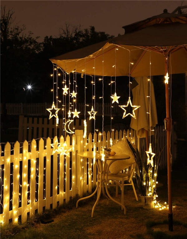 Solar LED moon stars curtain string lights 8