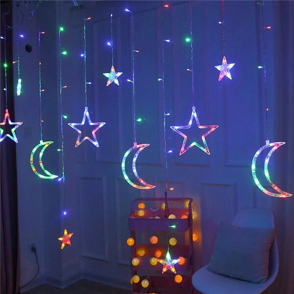 Solar LED moon stars curtain string lights 9