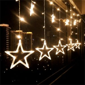 Solar led star shape curtain fairy string lights 1