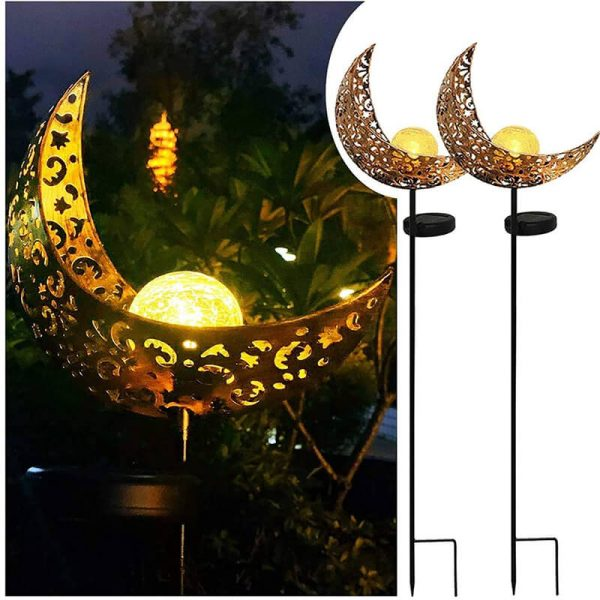 Solar hollow out moon glass globe garden lights 2 pack 1