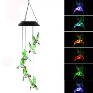 Color changing solar hummingbird wind chimes string lights 2