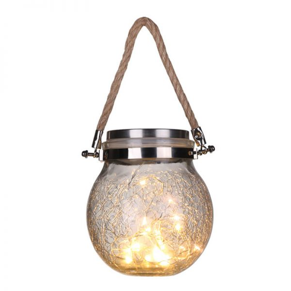 Solar crystal crackle glass hanging lawn lights 1
