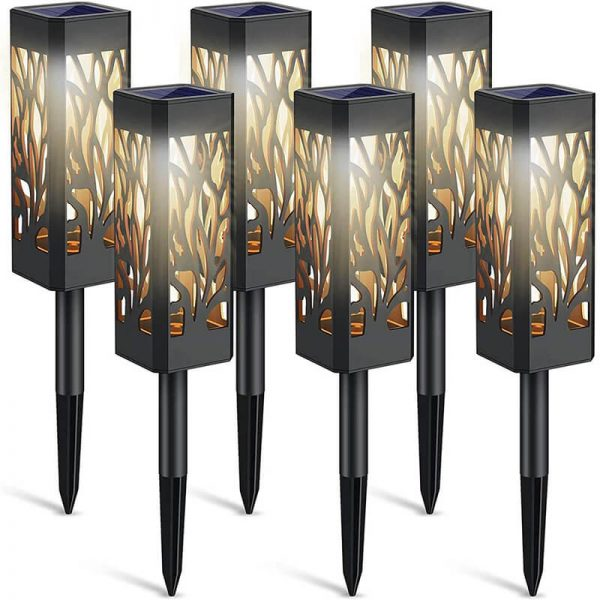 Solar tree-like hollow out square lawn lights 1